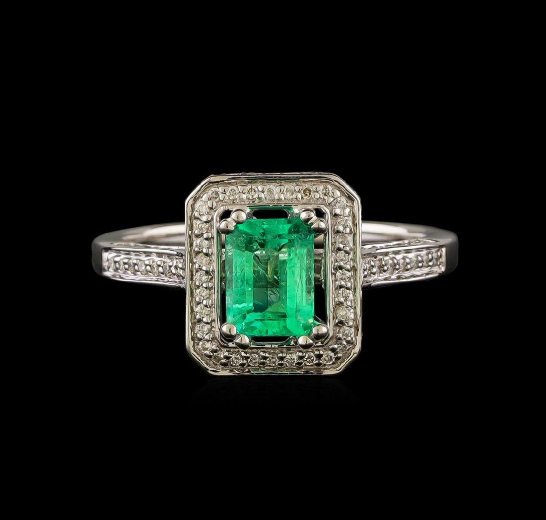 1.00 ctw Emerald and Diamond Ring - 14KT White Gold - 2