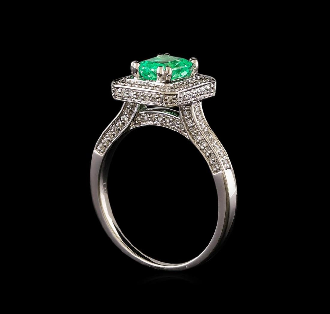 1.00 ctw Emerald and Diamond Ring - 14KT White Gold - 4