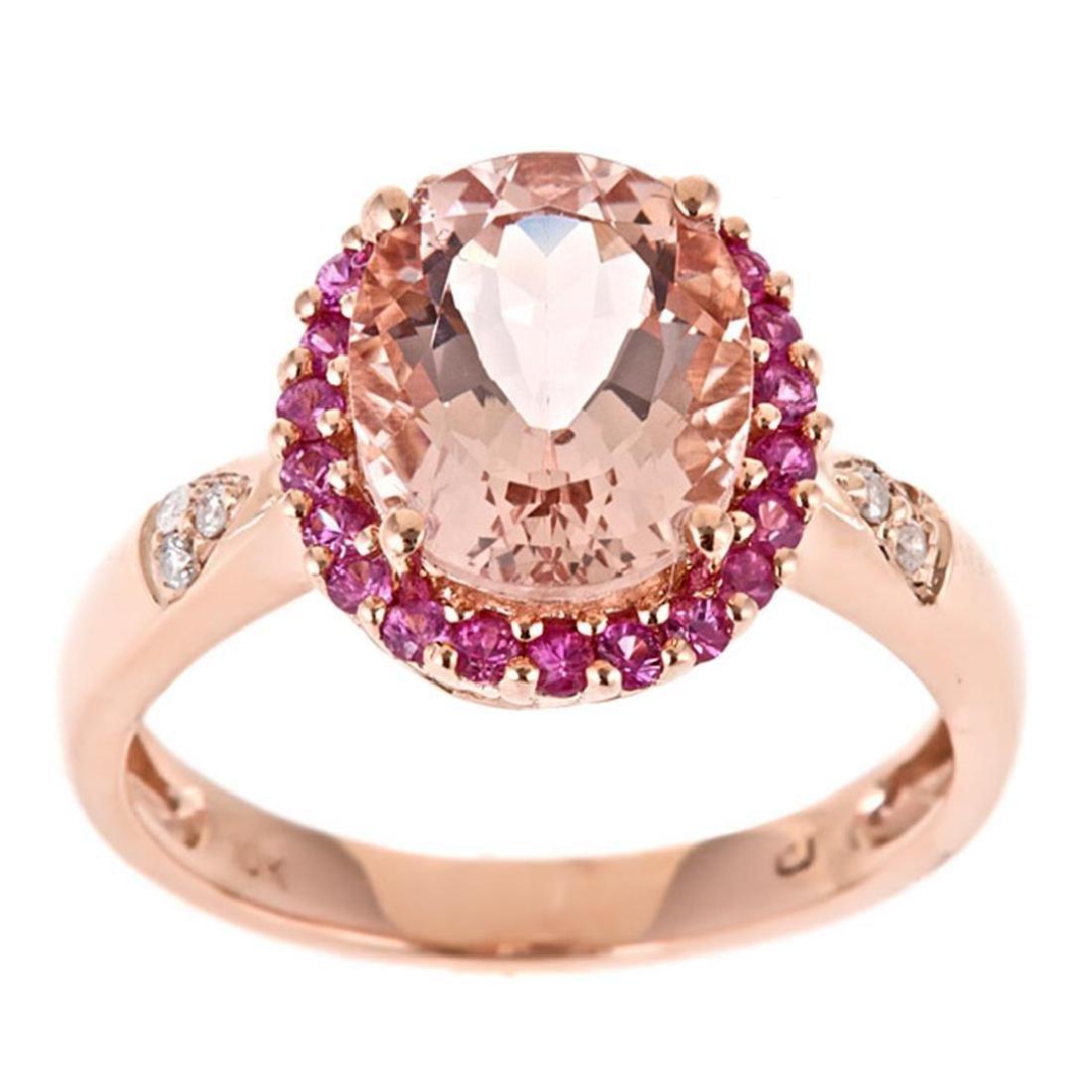 2.35 ctw Morganite, Pink Sapphire and Diamond Ring -
