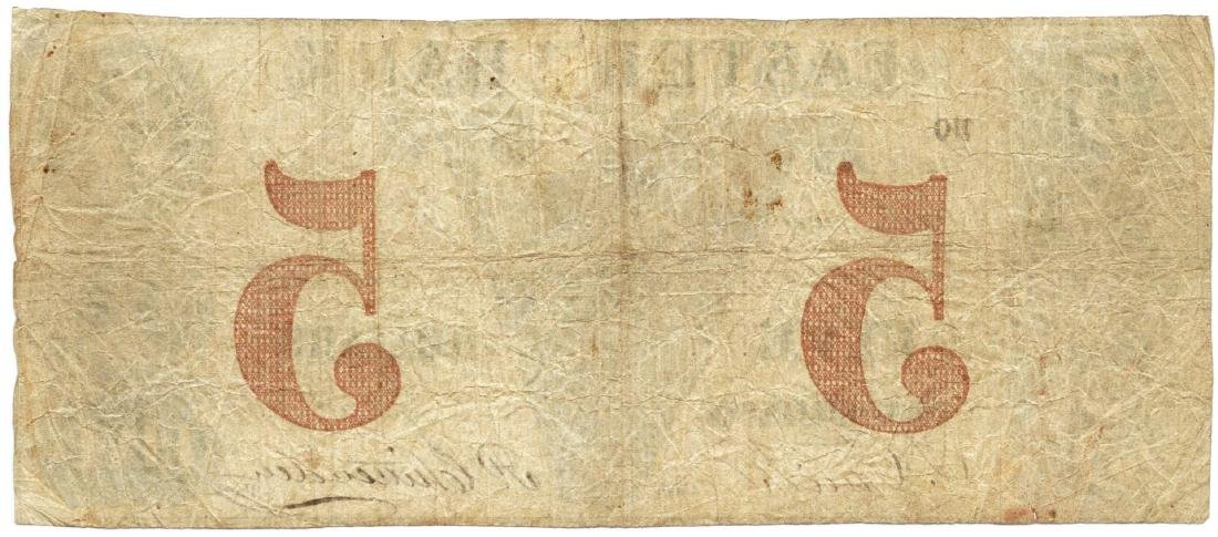 1852 $5 Eastern Bank, West-Killingly, CT Obsolete Bank - 2