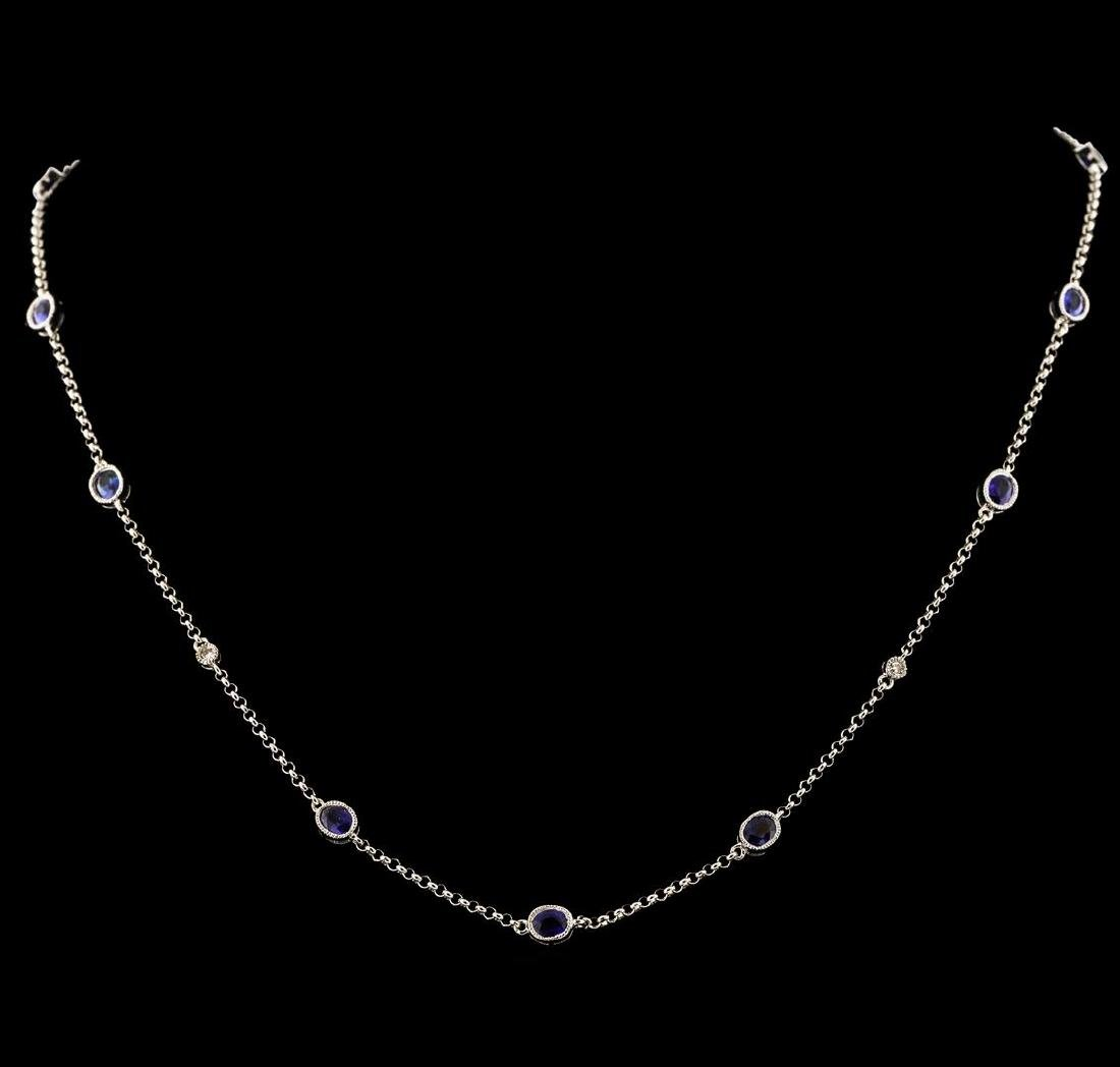 1.98 ctw Blue Sapphire and Diamond Necklace - 18KT