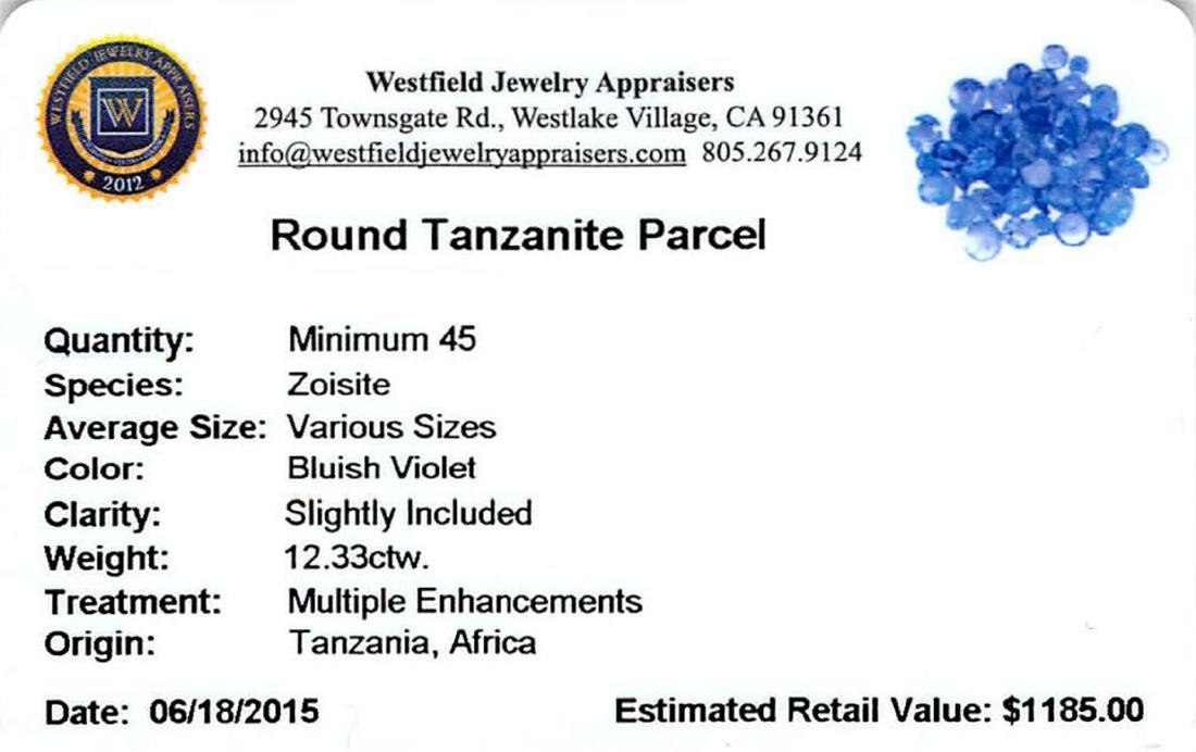 12.33 ctw Round Mixed Tanzanite Parcel - 2