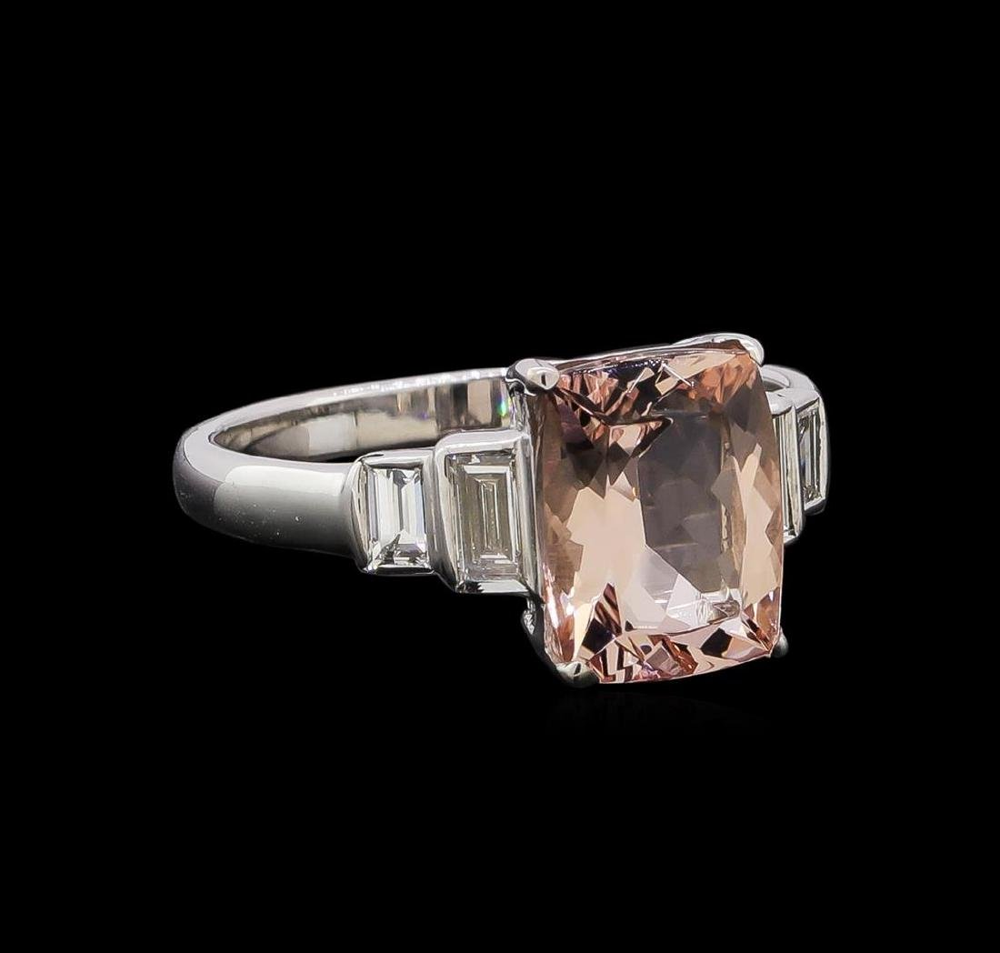 2.09 ctw Morganite and Diamond Ring - 14KT White Gold