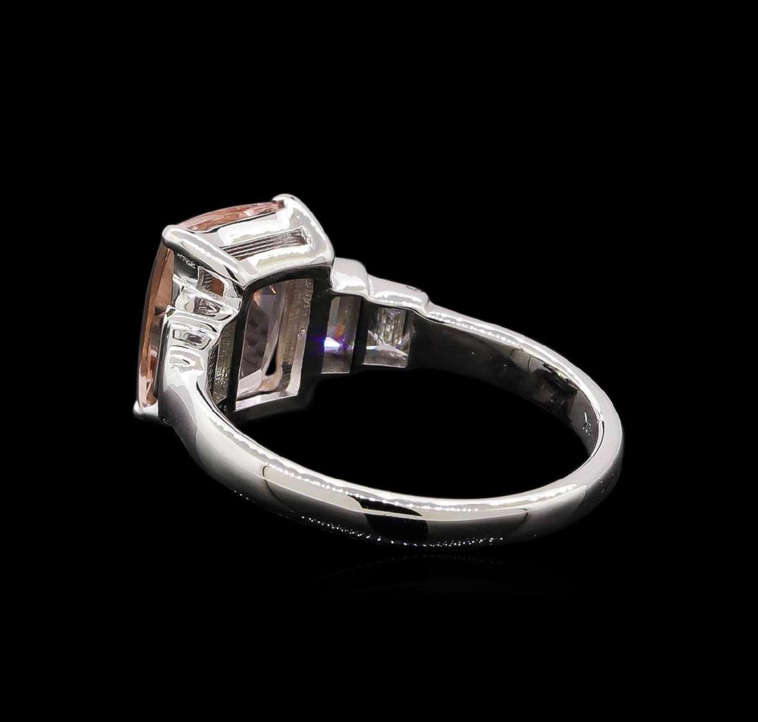 2.09 ctw Morganite and Diamond Ring - 14KT White Gold - 3