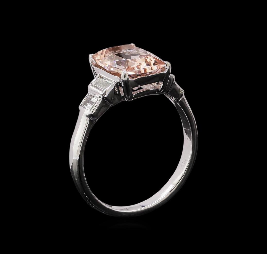 2.09 ctw Morganite and Diamond Ring - 14KT White Gold - 4