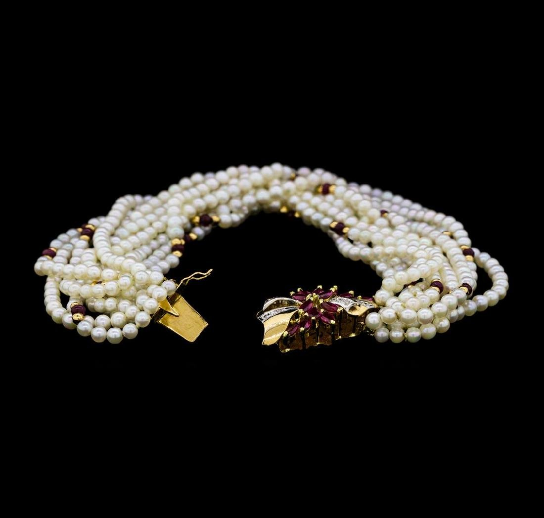 2.50 ctw Ruby, Diamond and Pearl Bracelet - 14KT Yellow - 3