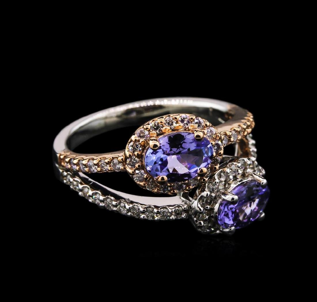 1.34 ctw Tanzanite and Diamond Ring - 14KT Two-Tone