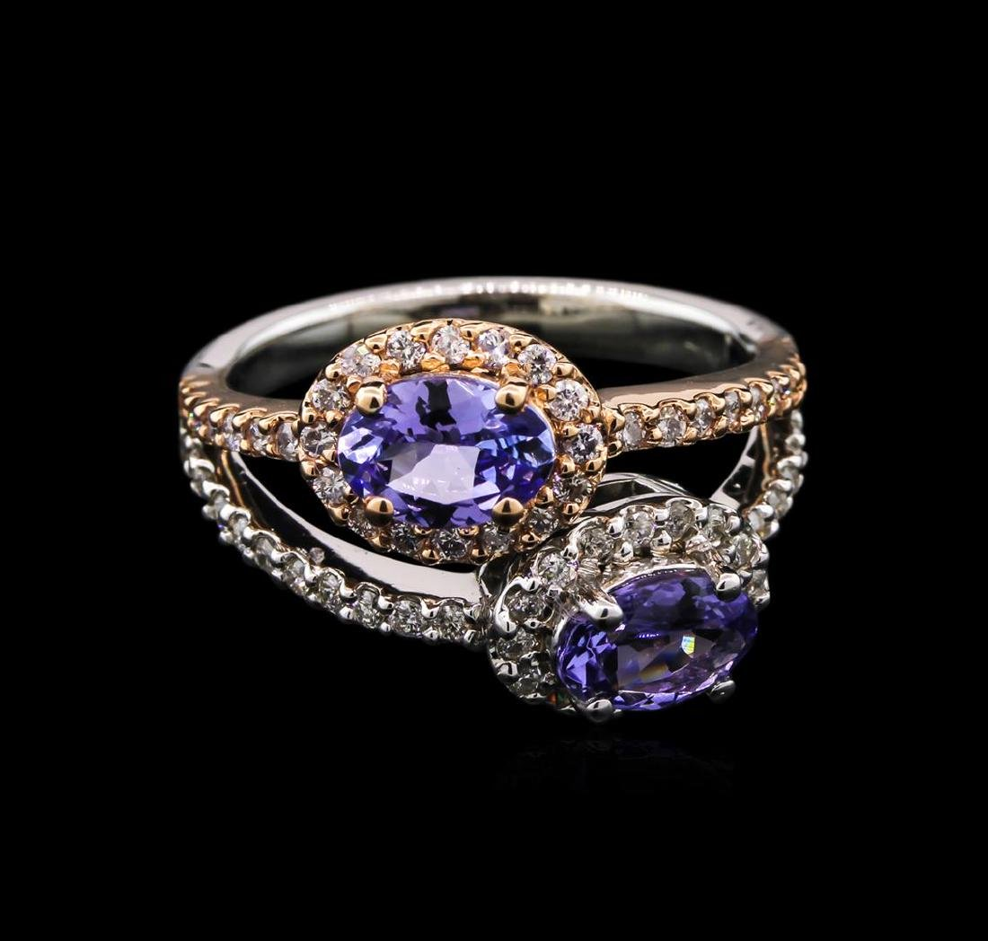 1.34 ctw Tanzanite and Diamond Ring - 14KT Two-Tone - 2