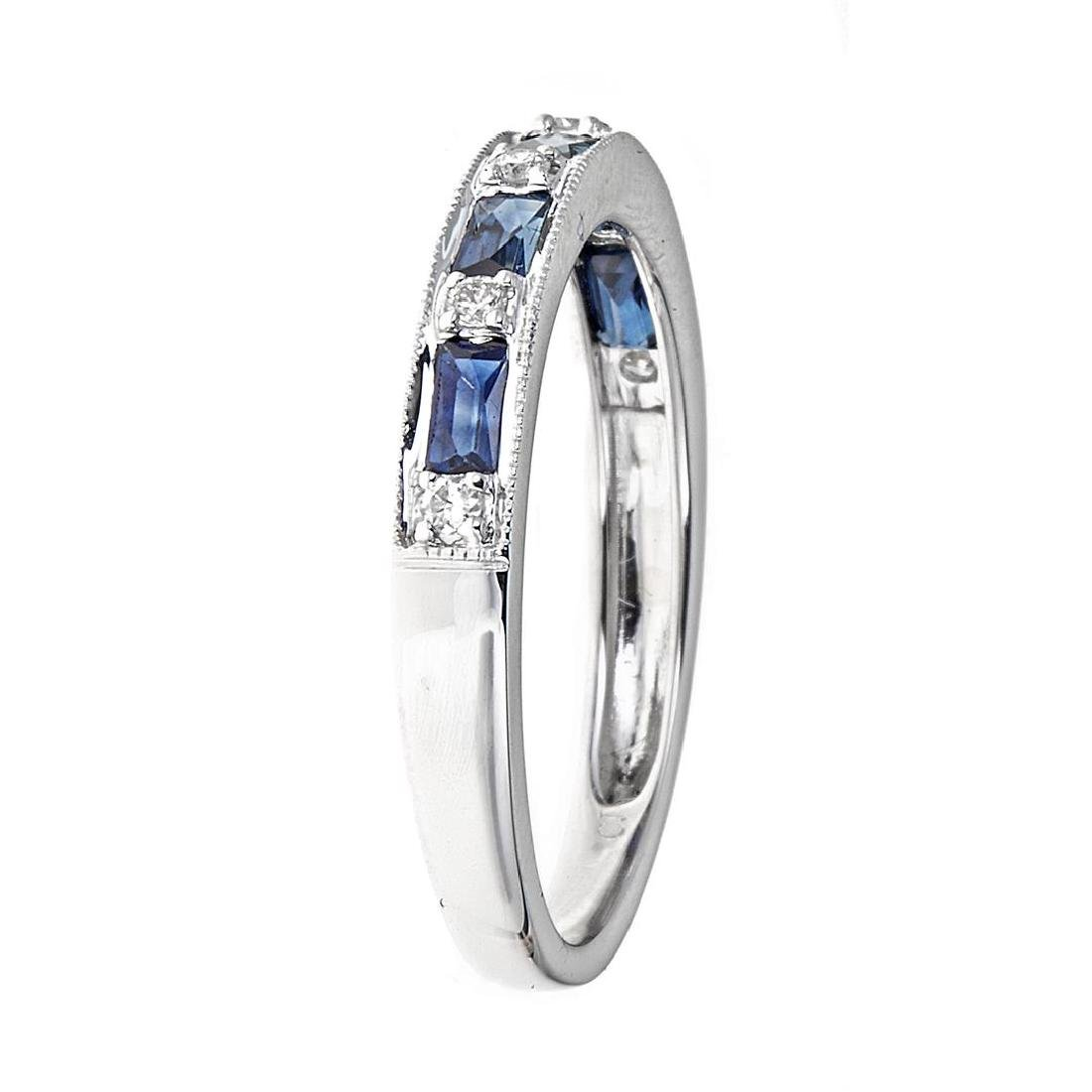 0.76 ctw Blue Sapphire and Diamond Ring - 18KT White - 3