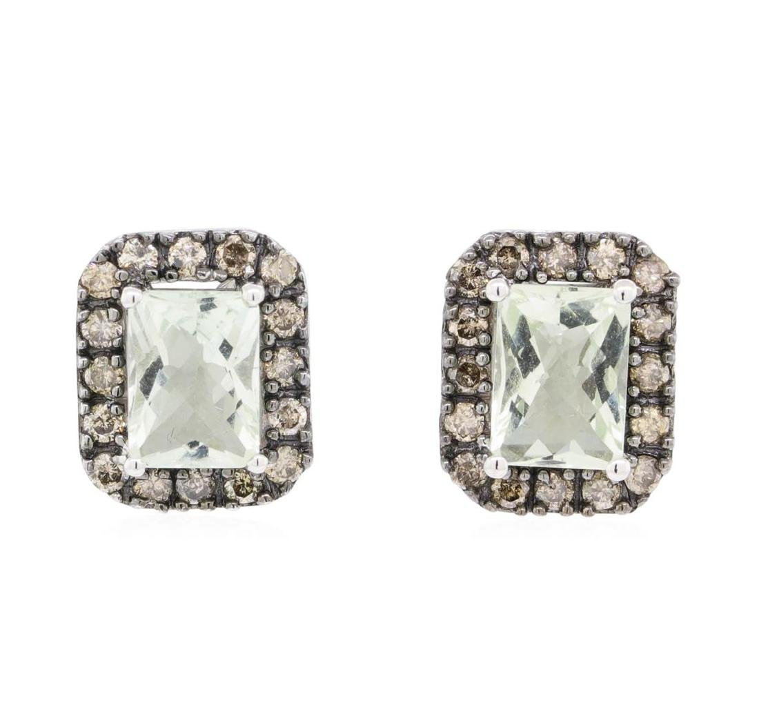 2.31 ctw Green Amethyst and Diamond Earrings - 14KT