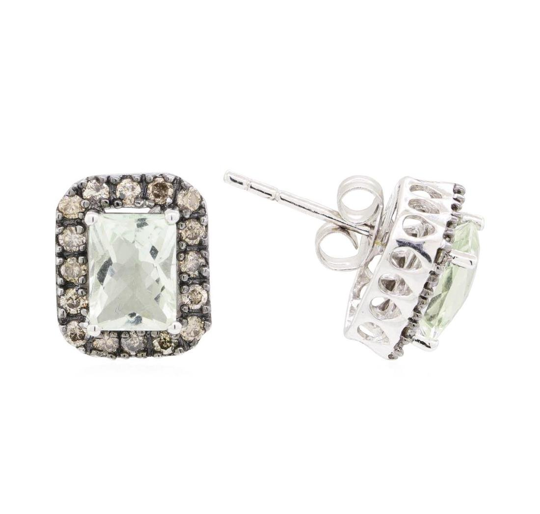 2.31 ctw Green Amethyst and Diamond Earrings - 14KT - 2