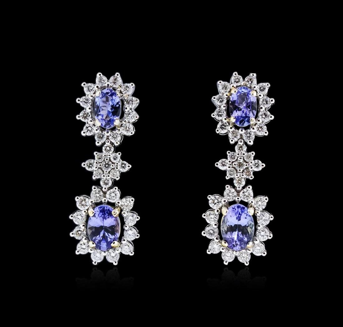 14KT Two-Tone Gold 1.76 ctw Tanzanite and Diamond
