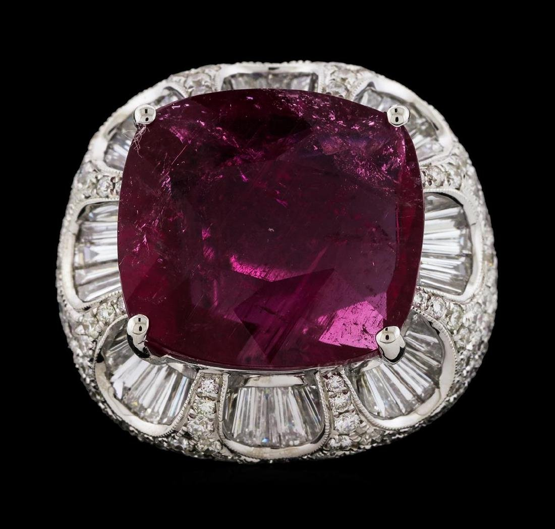 17.68 ctw Pink Tourmaline and Diamond Ring - 18KT White - 2