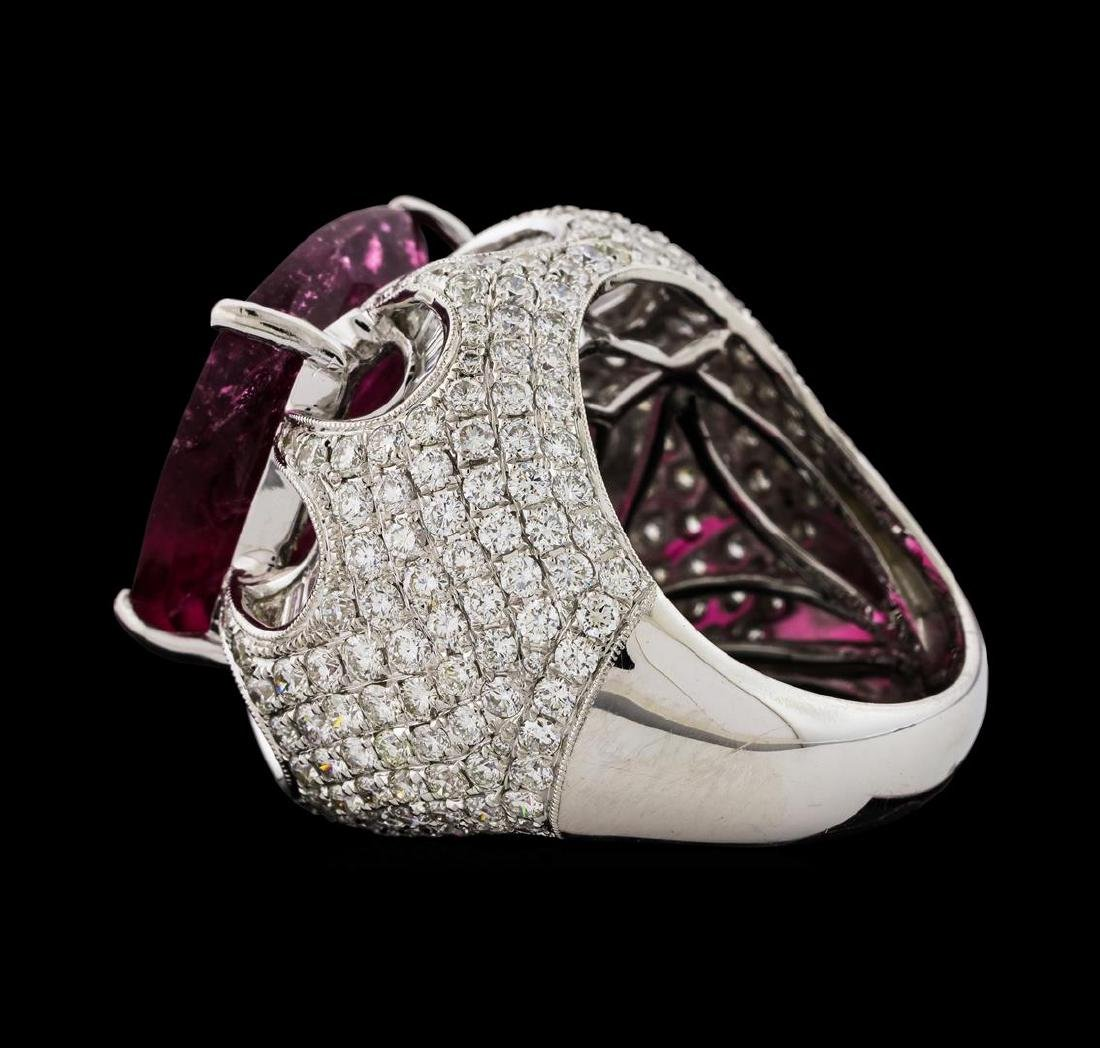 17.68 ctw Pink Tourmaline and Diamond Ring - 18KT White - 3