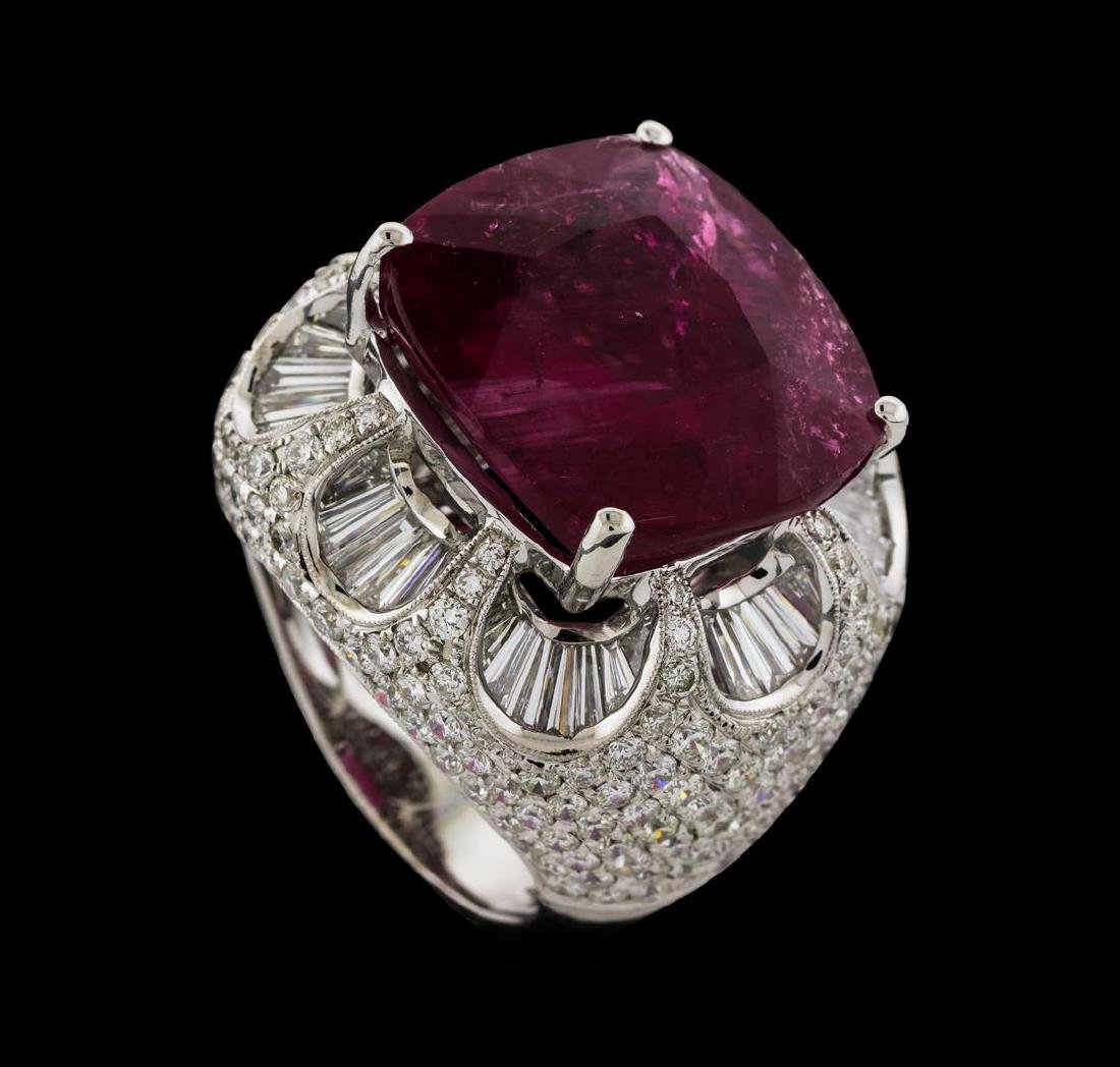 17.68 ctw Pink Tourmaline and Diamond Ring - 18KT White - 4
