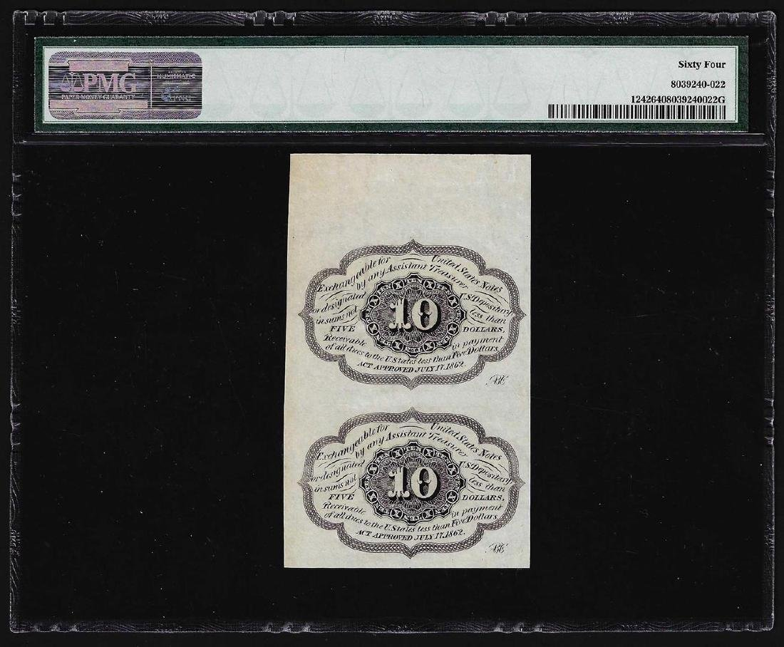 Uncut Pair of 1862 Ten Cents First Issue Fractional - 2