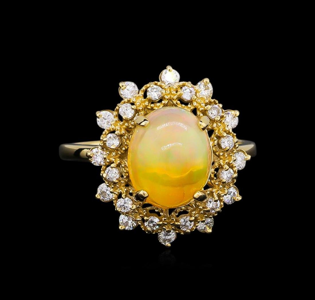 2.15 ctw Opal and Diamond Ring - 14KT Yellow Gold - 2