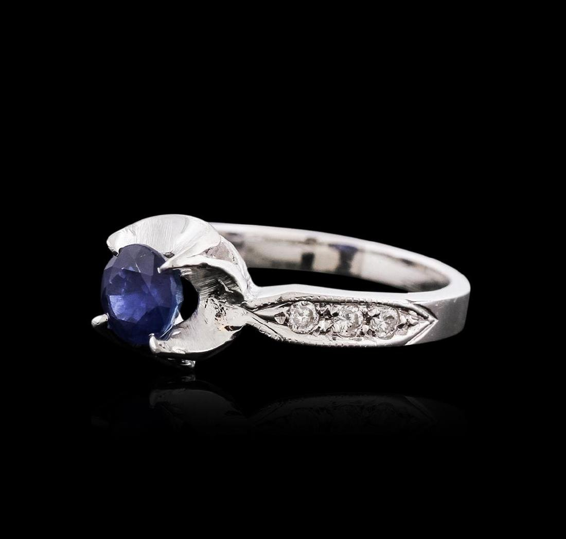 14KT White Gold 1.09 ctw Sapphire and Diamond Ring