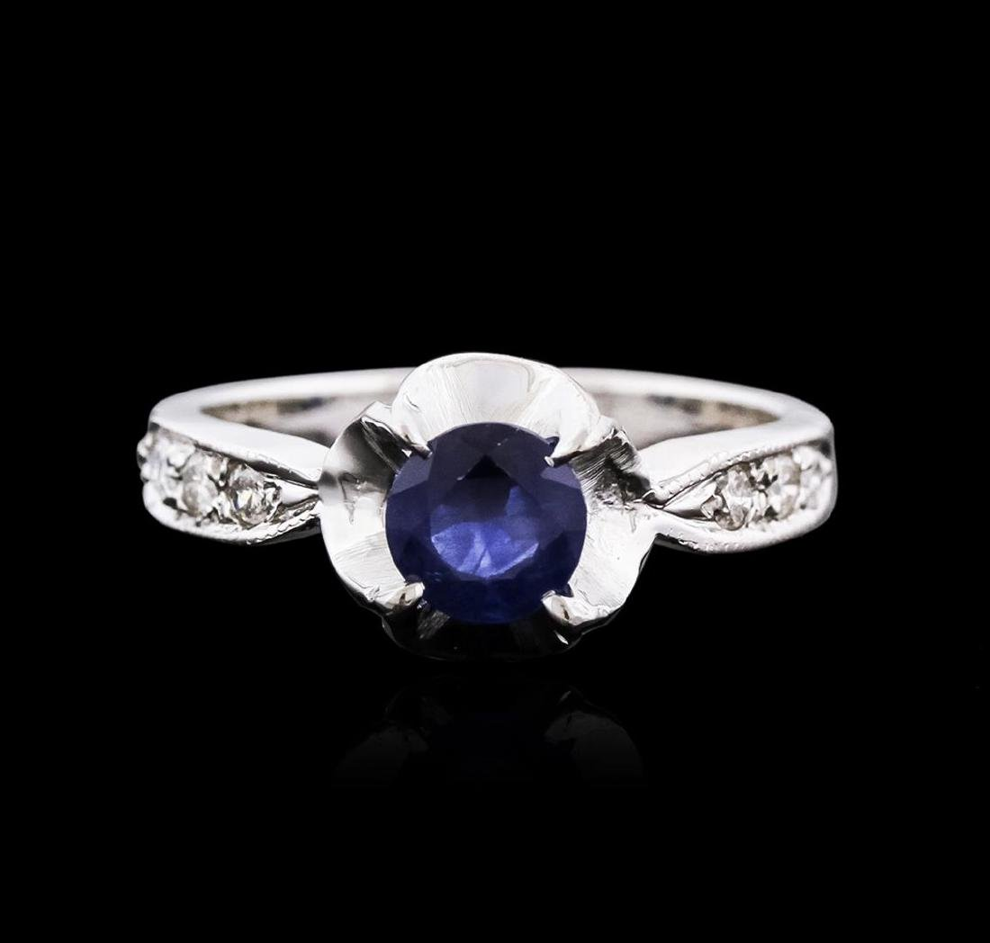 14KT White Gold 1.09 ctw Sapphire and Diamond Ring - 2