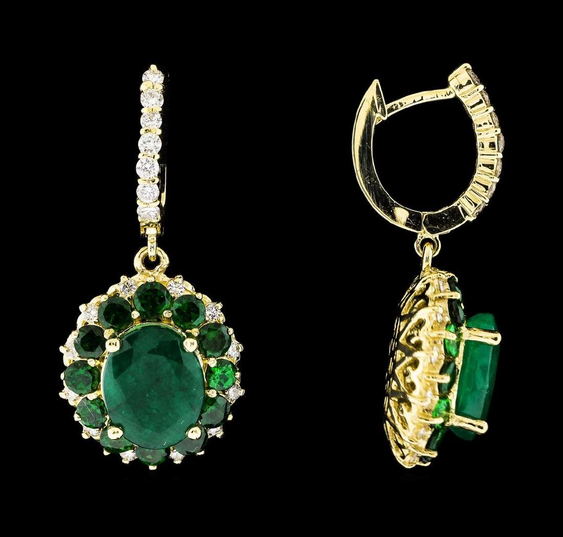 9.71 ctw Emerald and Diamond Earrings - 14KT Yellow - 2