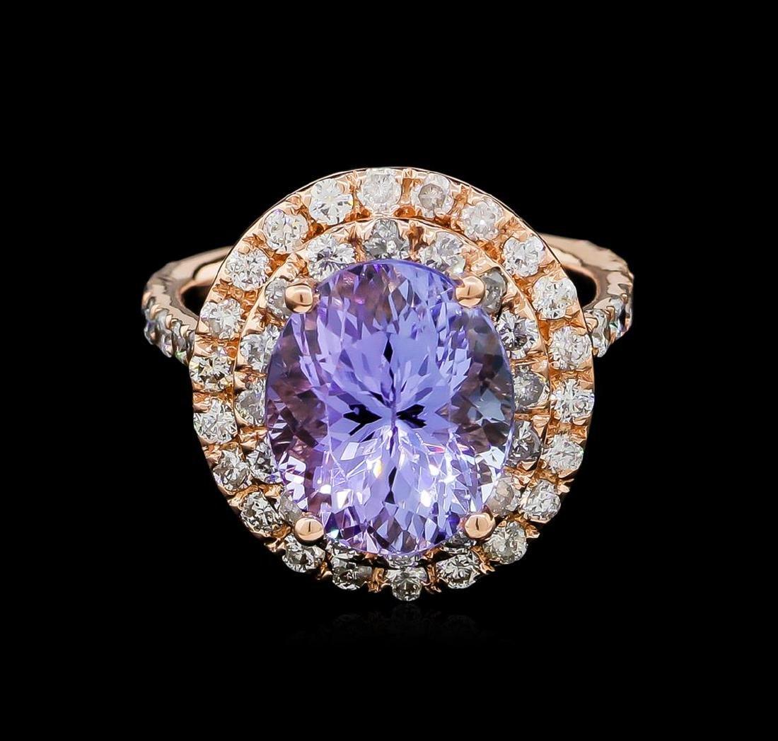 5.53 ctw Tanzanite and Diamond Ring - 14KT Rose Gold - 2