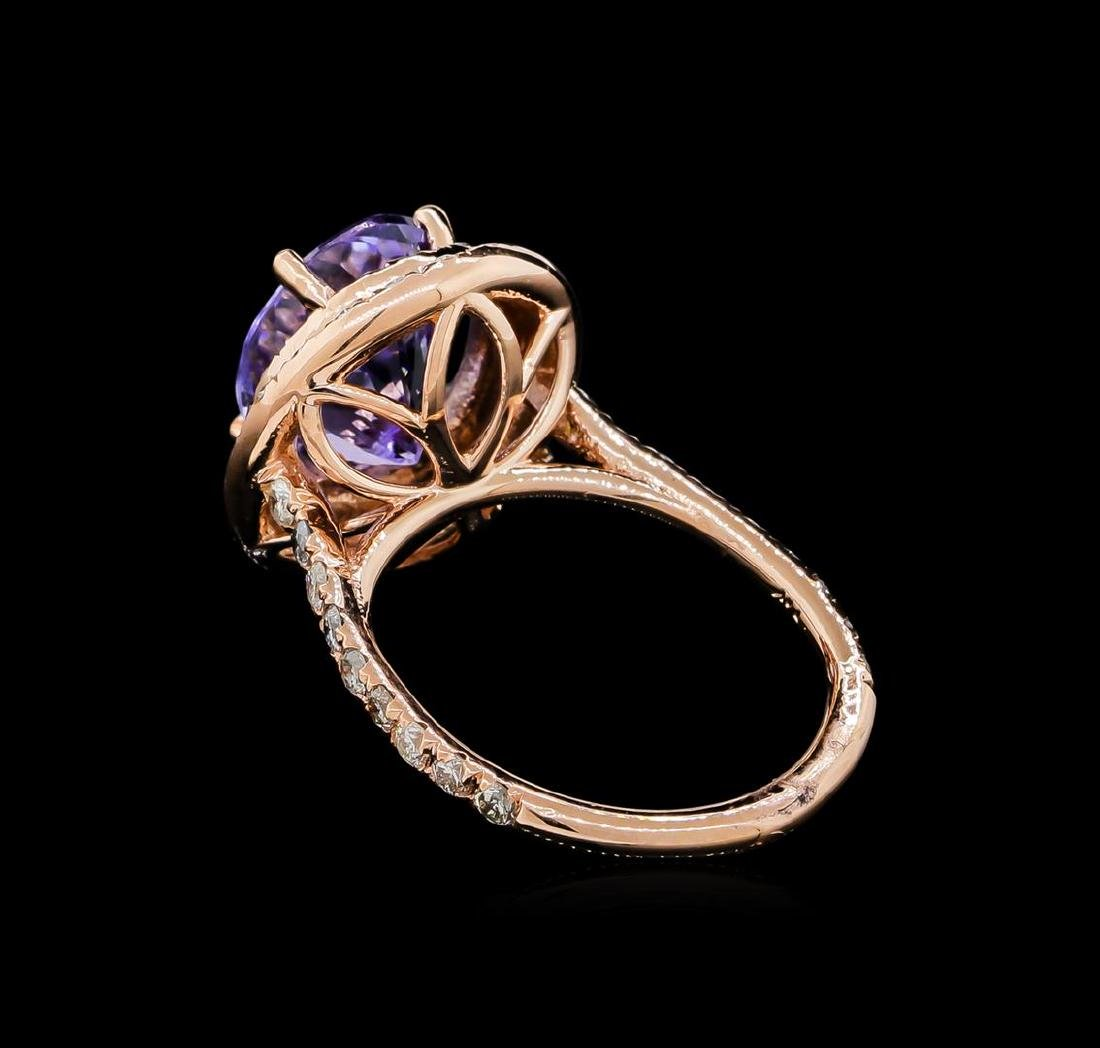 5.53 ctw Tanzanite and Diamond Ring - 14KT Rose Gold - 3