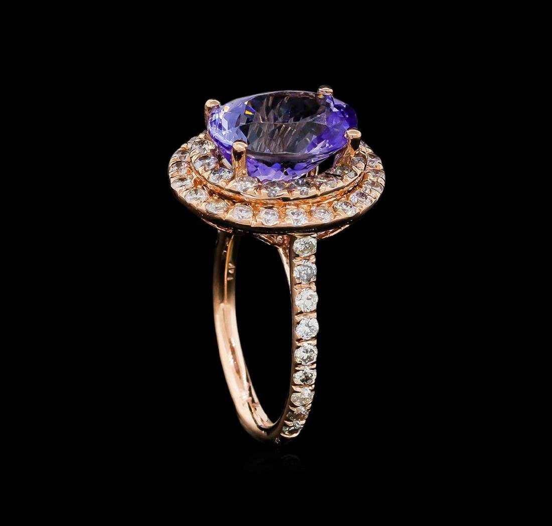 5.53 ctw Tanzanite and Diamond Ring - 14KT Rose Gold - 4