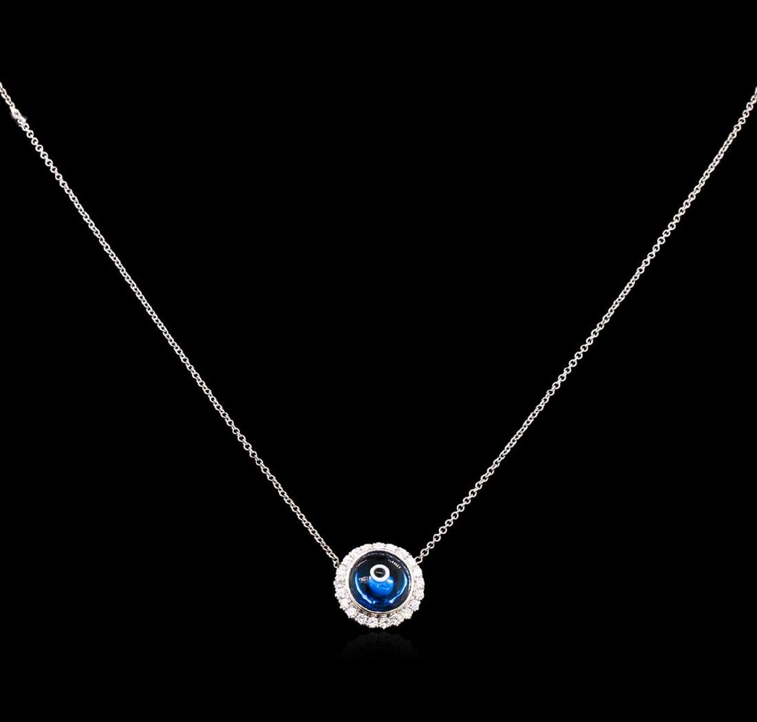 0.37 ctw Diamond Evil Eye Pendant With Chain - 14KT - 2