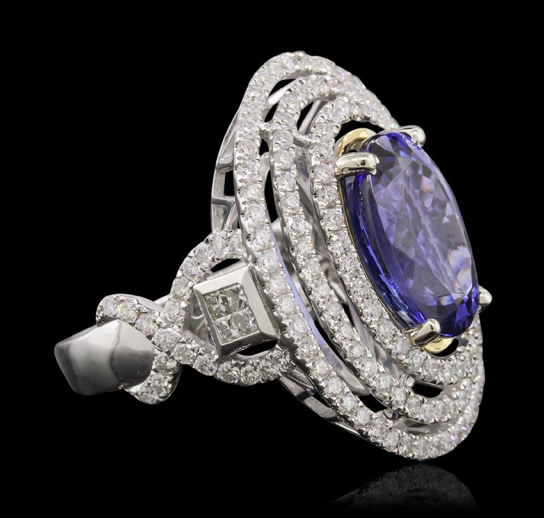 14KT White and Yellow Gold 6.46 ctw Tanzanite and