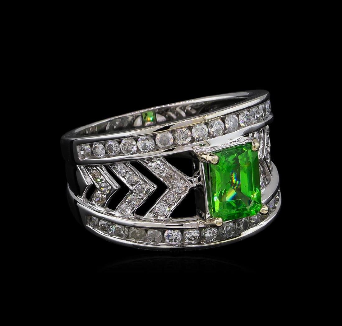 1.31 ctw Tsavorite and Diamond Ring - 14KT White Gold