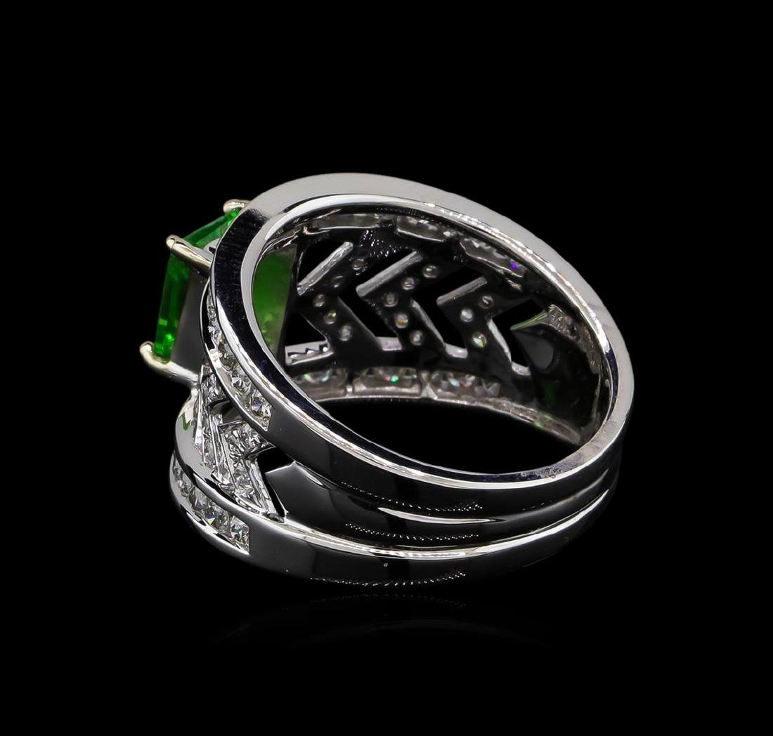 1.31 ctw Tsavorite and Diamond Ring - 14KT White Gold - 3