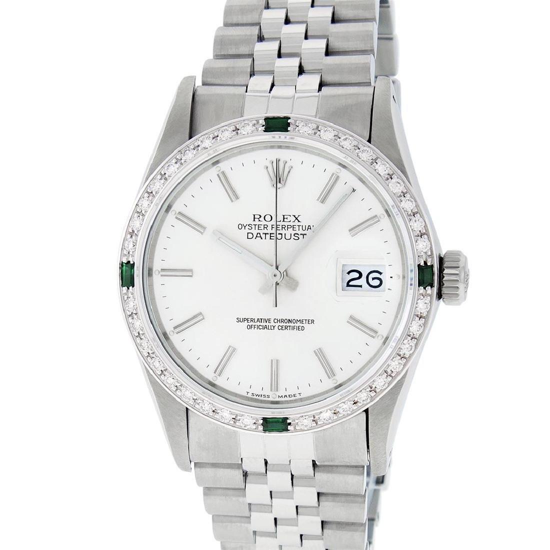 Rolex Mens Stainless Steel Silver Index Diamond 36MM - 2