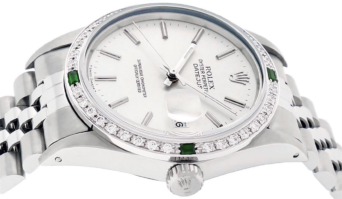 Rolex Mens Stainless Steel Silver Index Diamond 36MM - 3
