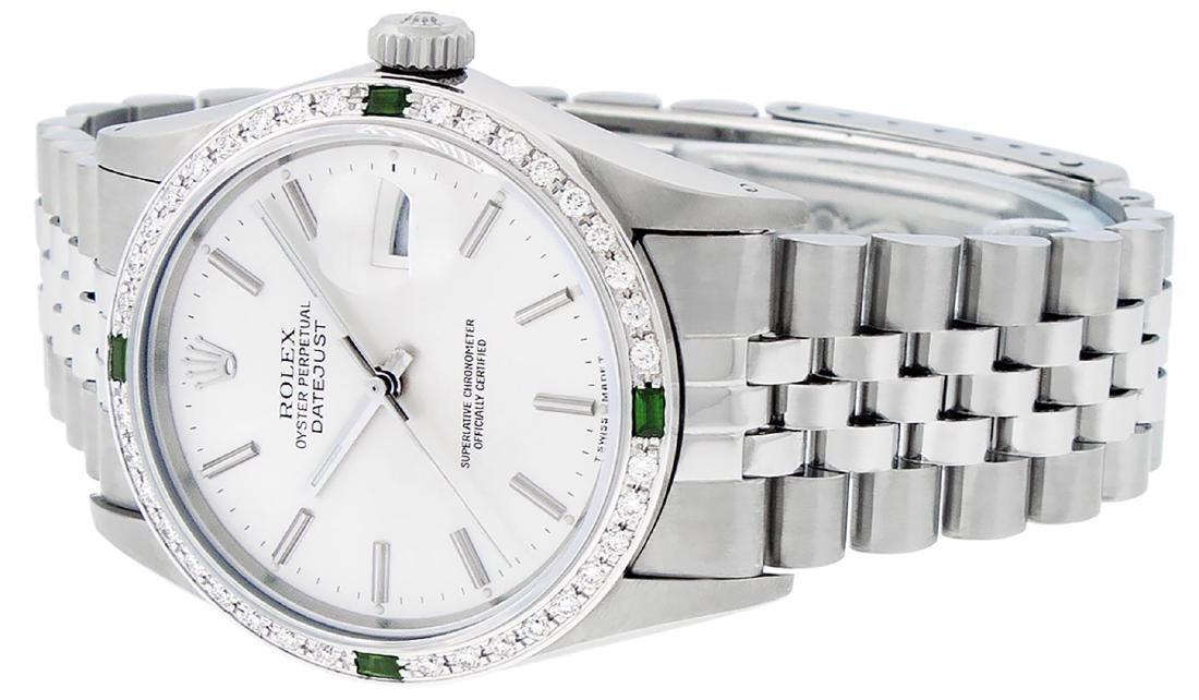 Rolex Mens Stainless Steel Silver Index Diamond 36MM - 5