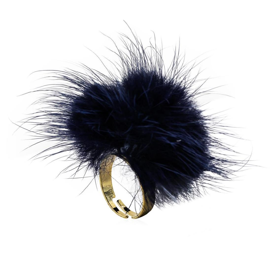 Mink Fur Adjustable Ring - Gold Plated - 3