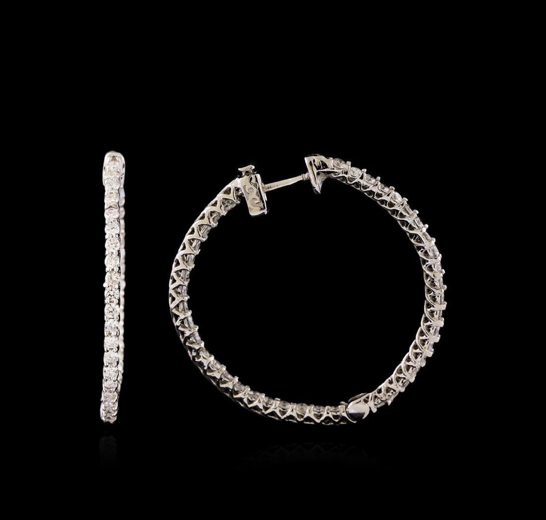 14KT White Gold 0.99 ctw Diamond Earrings - 2