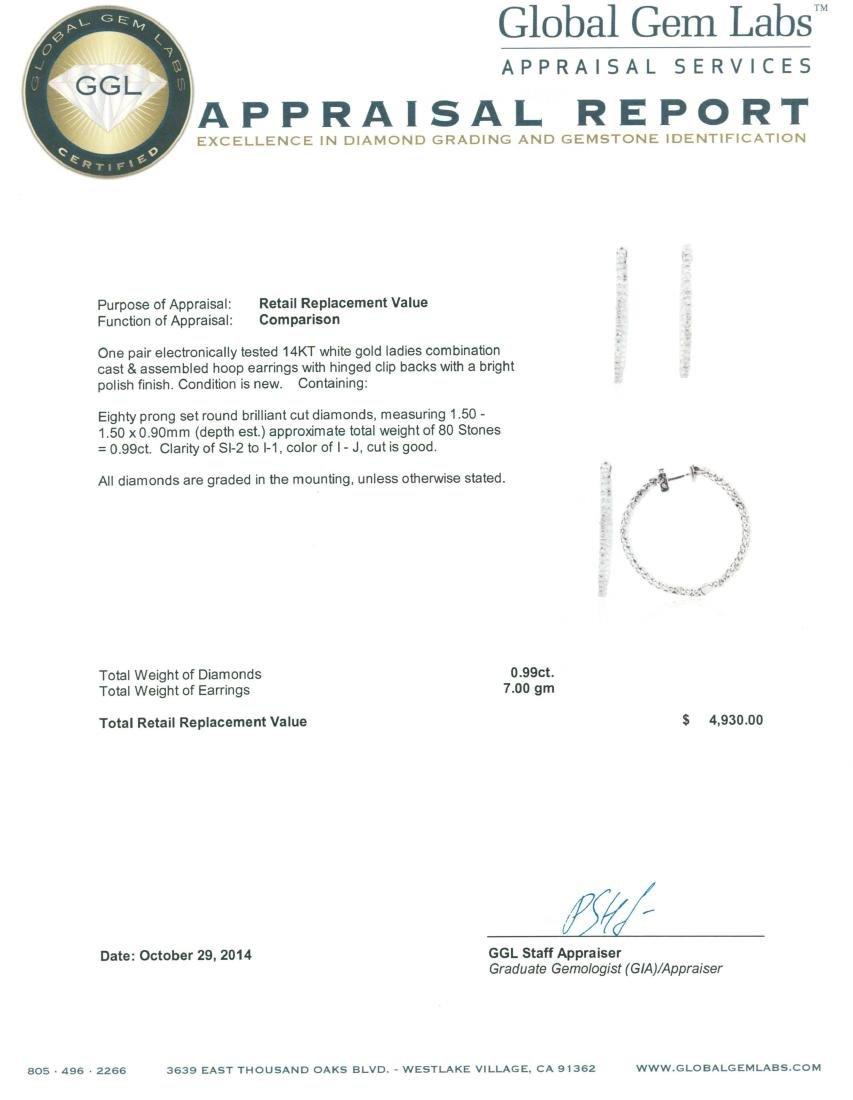 14KT White Gold 0.99 ctw Diamond Earrings - 3