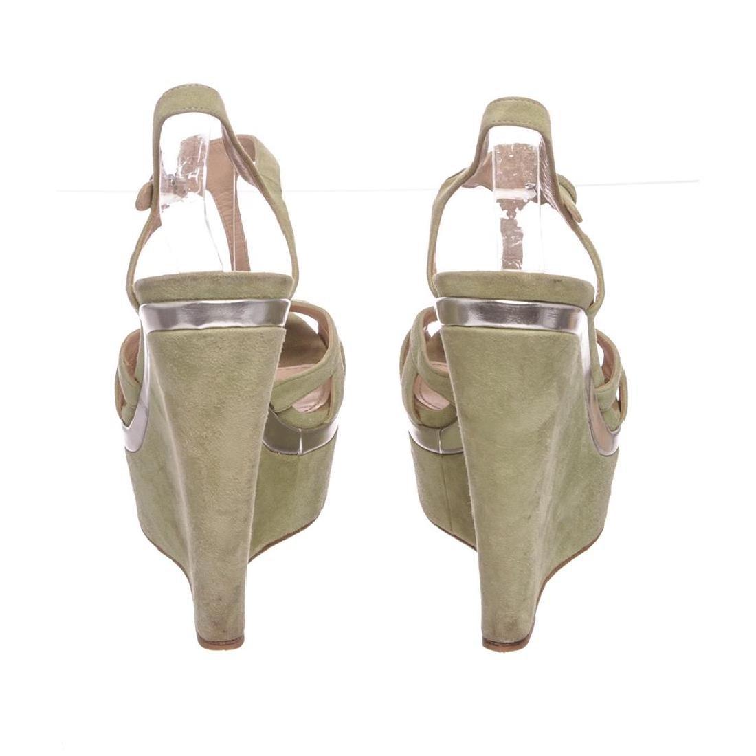Miu Miu Pistacchio Suede Camoscio Lame Wedges Heels - 4