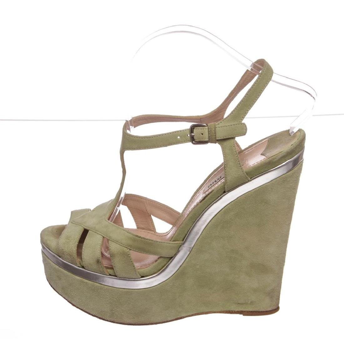 Miu Miu Pistacchio Suede Camoscio Lame Wedges Heels - 5