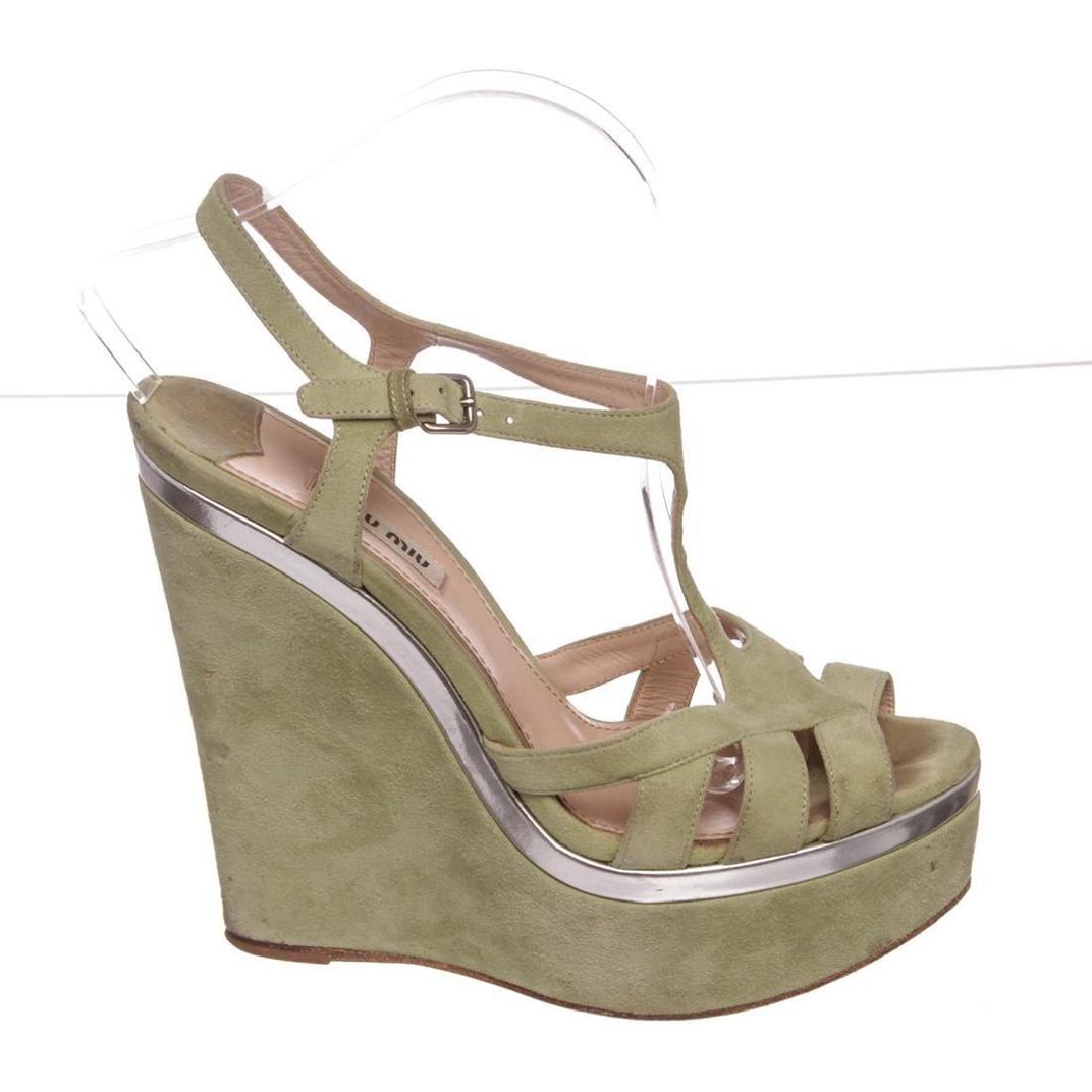 Miu Miu Pistacchio Suede Camoscio Lame Wedges Heels - 6