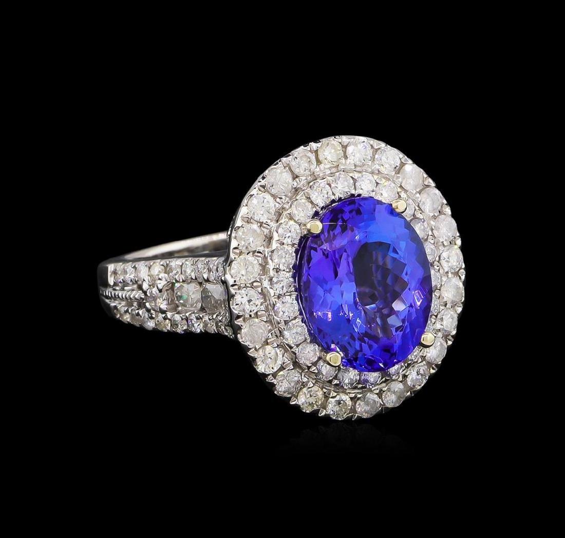 4.08 ctw Tanzanite and Diamond Ring - 14KT White Gold