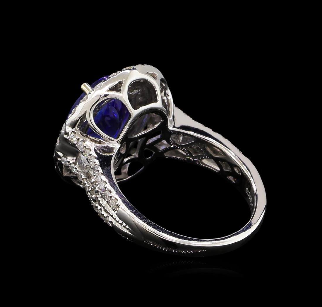 4.08 ctw Tanzanite and Diamond Ring - 14KT White Gold - 3