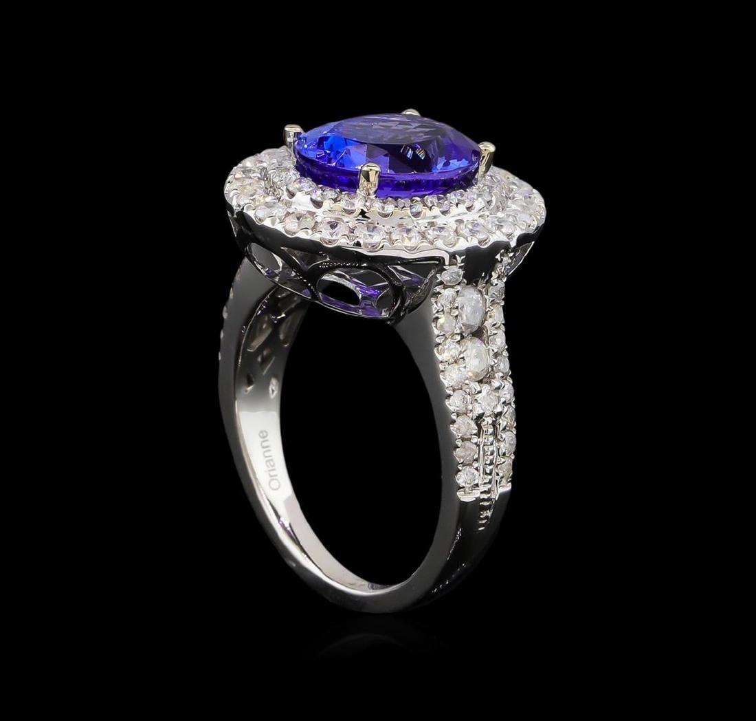 4.08 ctw Tanzanite and Diamond Ring - 14KT White Gold - 4