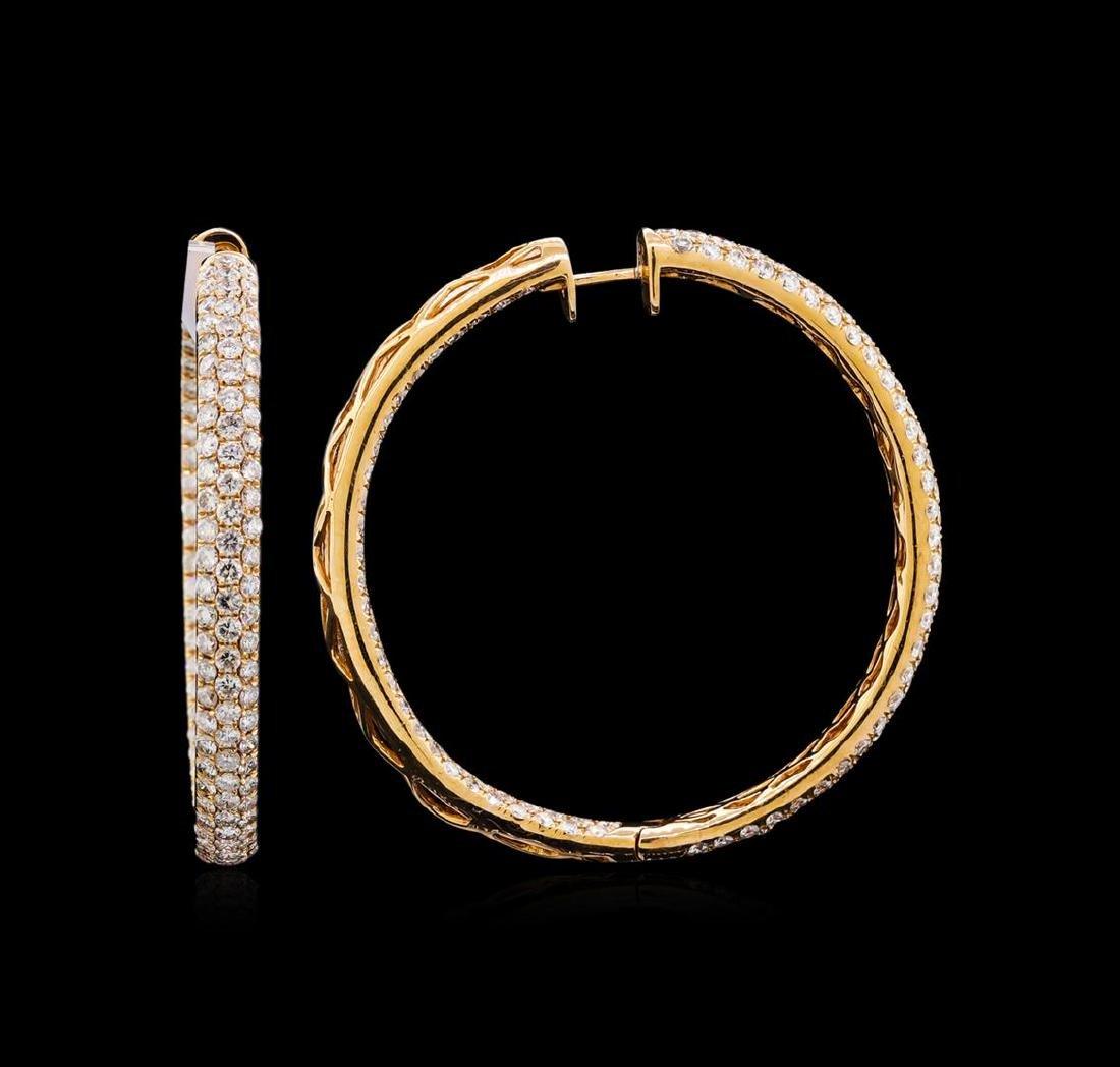 5.77 ctw Diamond Hoop Earrings - 18KT Rose Gold - 2