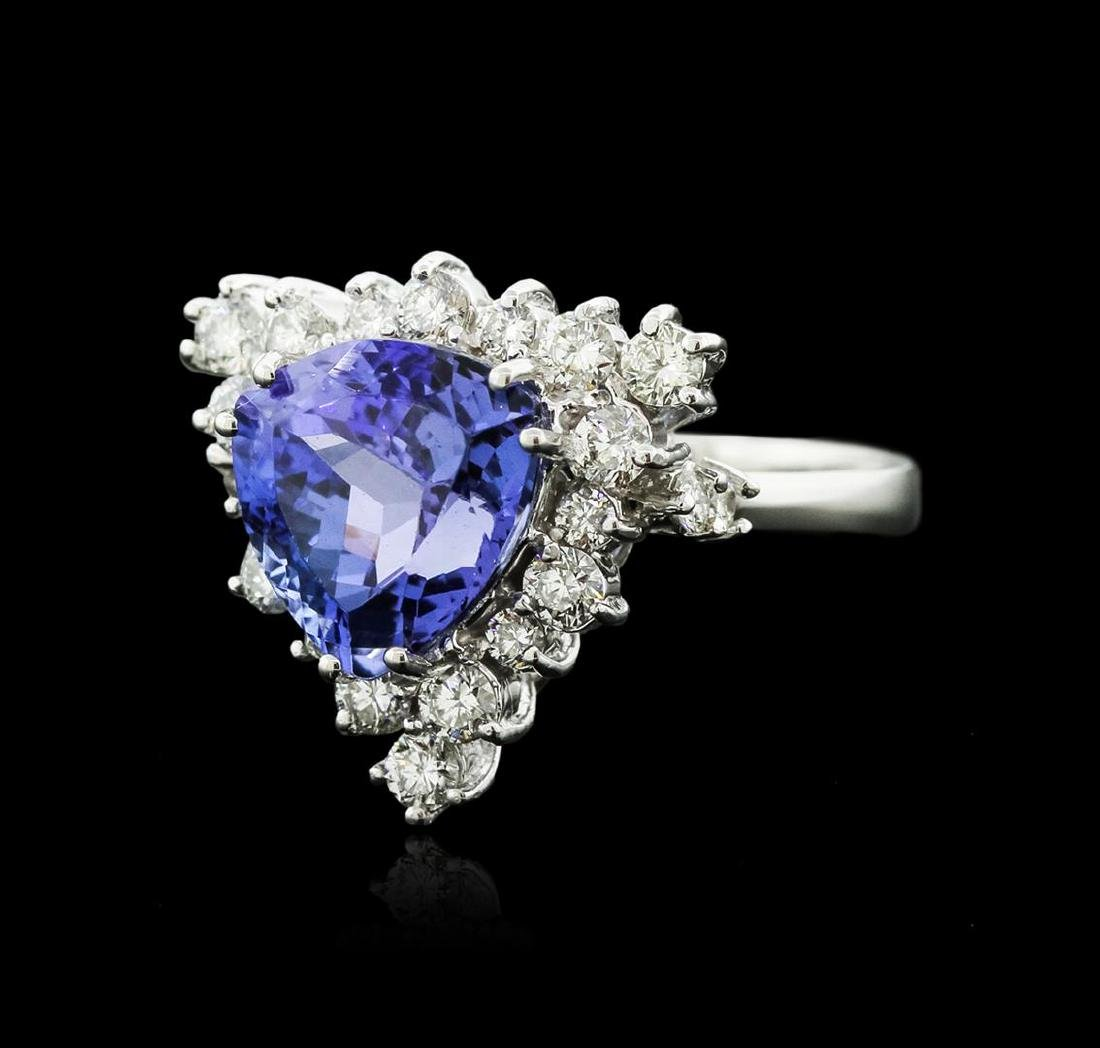 14KT White Gold 4.82 ctw Tanzanite and Diamond Ring - 2