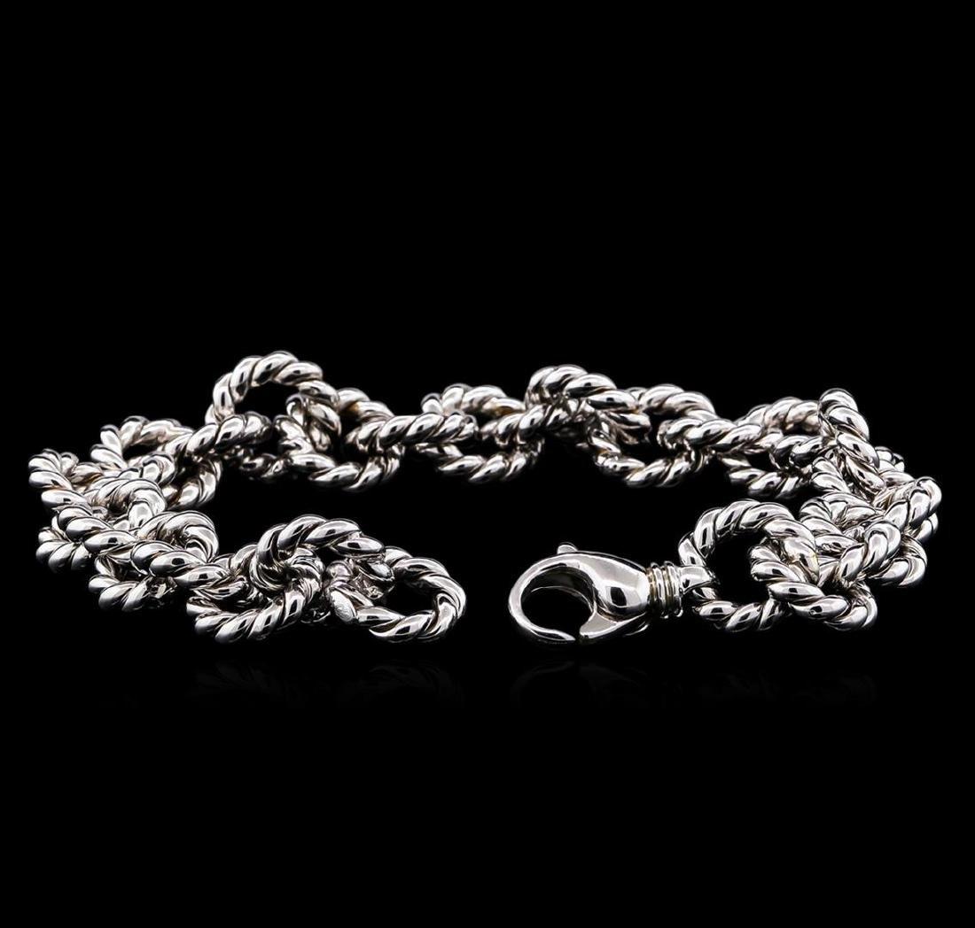 14KT White Gold Chain Link Bracelet - 3