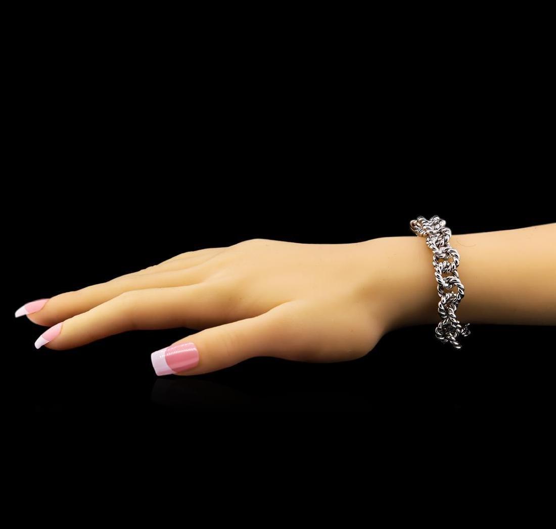 14KT White Gold Chain Link Bracelet - 4