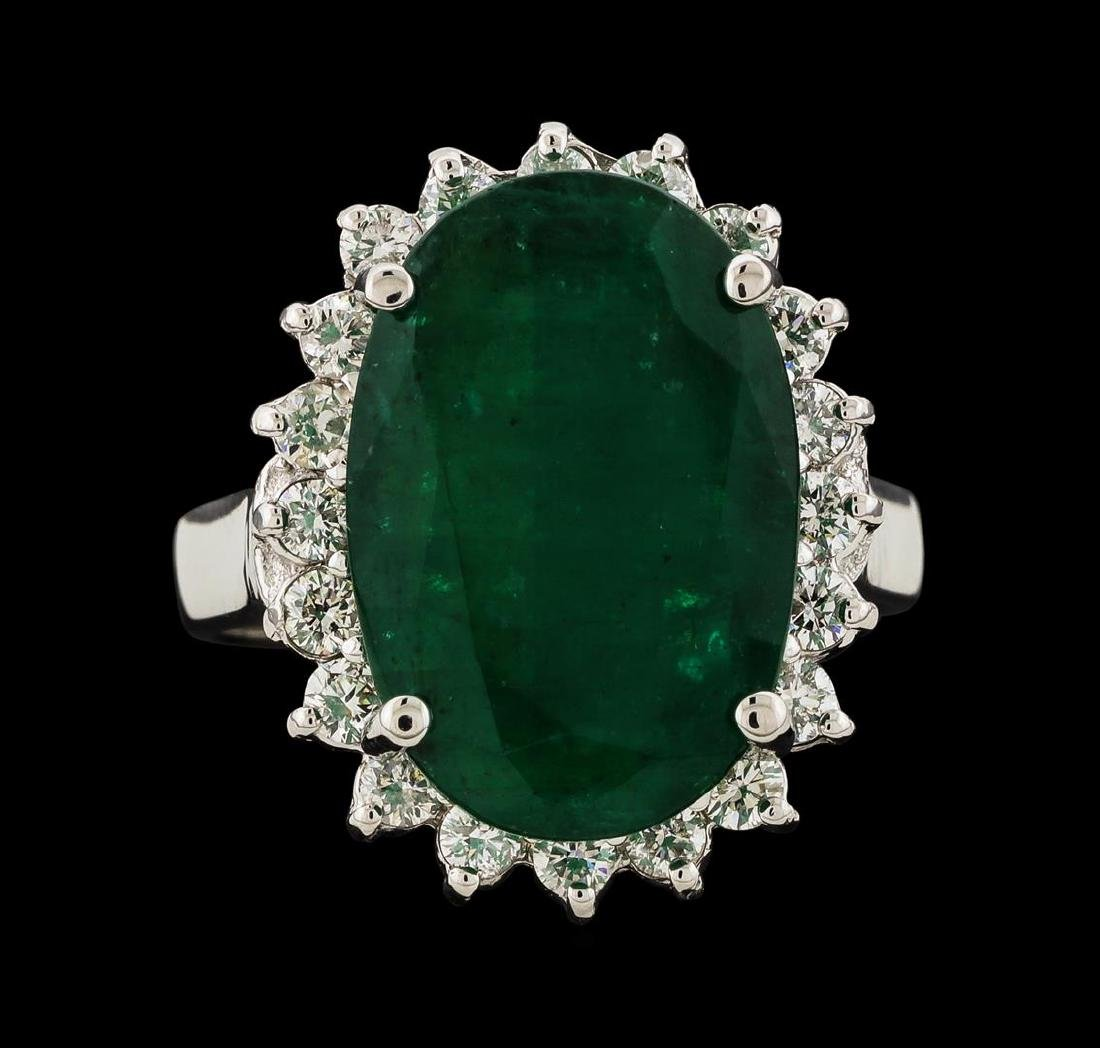 7.30 ctw Emerald and Diamond Ring - 14KT White Gold - 2