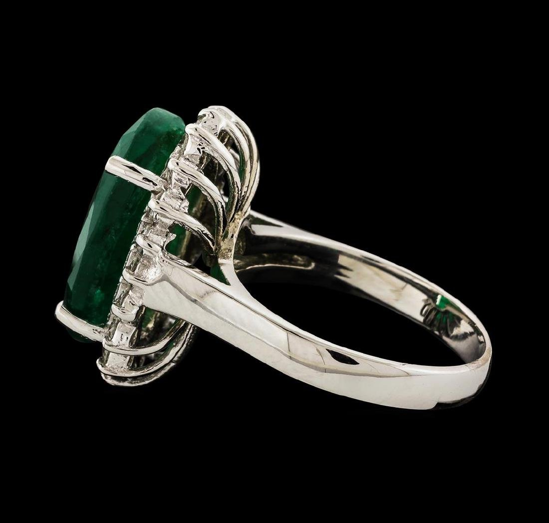 7.30 ctw Emerald and Diamond Ring - 14KT White Gold - 3