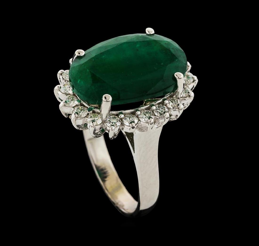 7.30 ctw Emerald and Diamond Ring - 14KT White Gold - 4